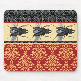 Bugs on Brocade - Elegant Damask, Creepy Beetle! Mouse Mat