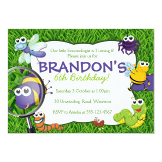 Bugs Theme Kids Party Invitation