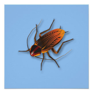 Bugzeez_The Artful Roach on powder blue Poster