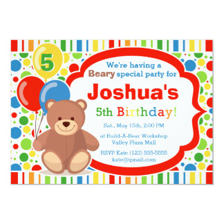 Build A Bear Boy's Birthday Party Invitation