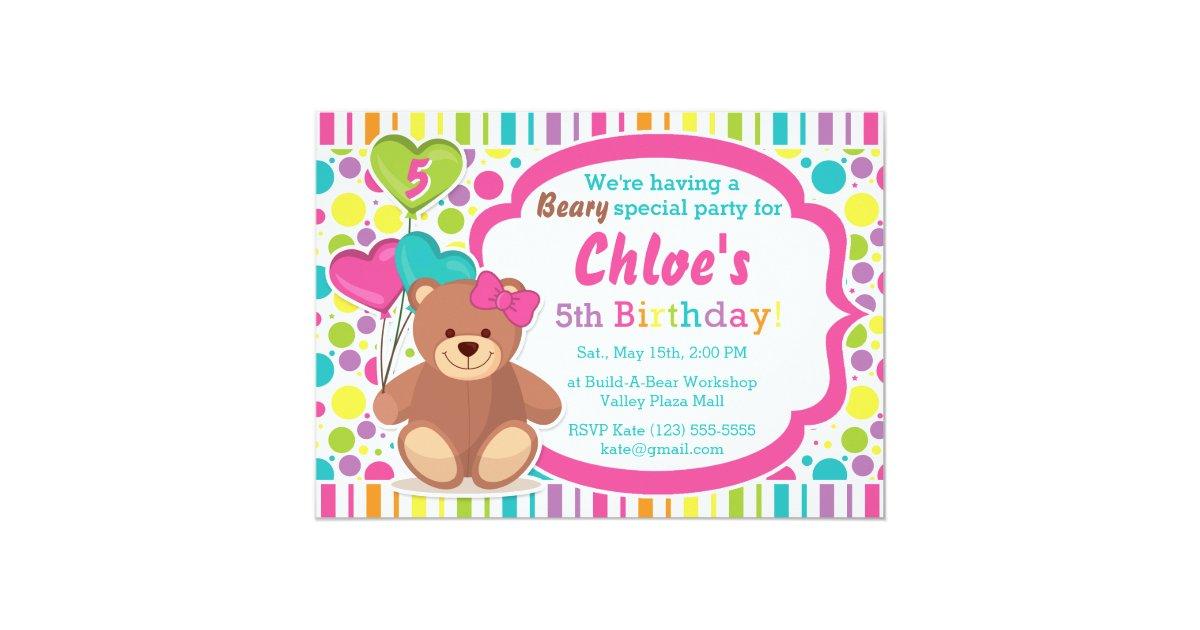 Build A Bear Girl\'s Birthday Party Invitation | Zazzle.co.uk