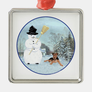 Build a Snowman Silver-Colored Square Decoration