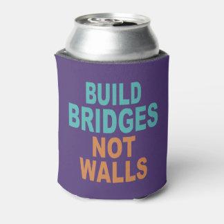 """""""Build Bridges Not Walls"""" custom monogram can cool Can Cooler"""