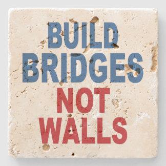 """""""Build Bridges Not Walls"""" stone coasters"""