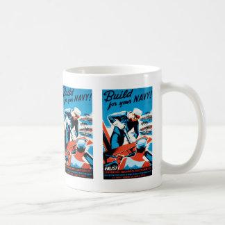 Build For Your Navy Basic White Mug
