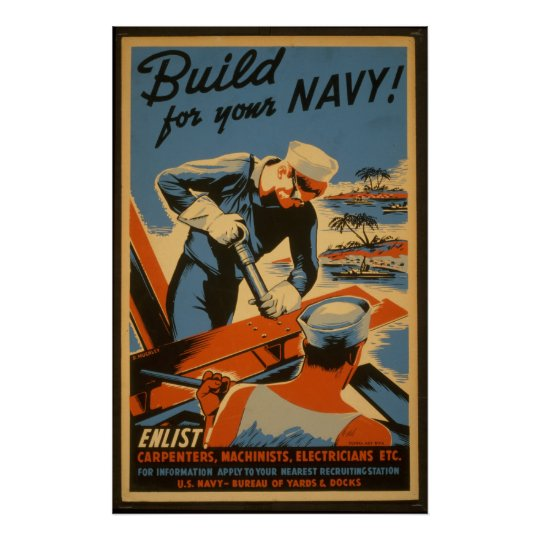 Build For Your Navy, Military Recruiting Poster