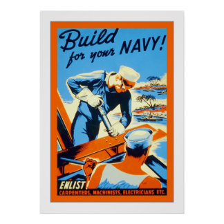 Build for your Navy! Vintage World War Two Poster