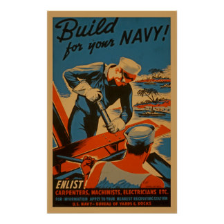 Build For Your Navy World War WPA Vintage Posters