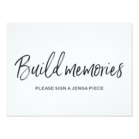 """Build memories"" Jenga Wedding Sign | Stylish Card"