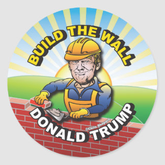 BUILD THE WALL DONALD TRUMP BRICK LAYER MASON USA CLASSIC ROUND STICKER
