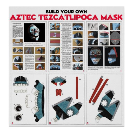 Build Your Own Aztec Tezcatipoca Mask KIt Posters