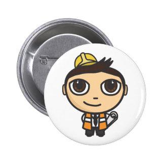 Builder Cartoon Character Button Badge Pinback Buttons