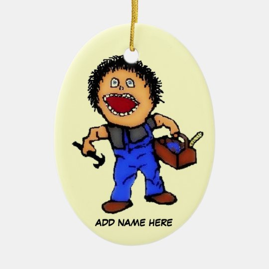 Builder Cartoon Christmas Ornament