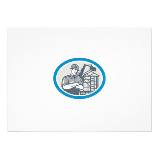 Builder Construction Worker Mechanical Digger Oval Announcement