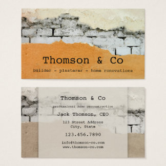 Builder Plasterer Home Renovation Business Card