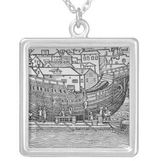Building a Ship Silver Plated Necklace