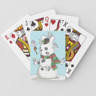 Building a snowbun - Holiday Playing cards