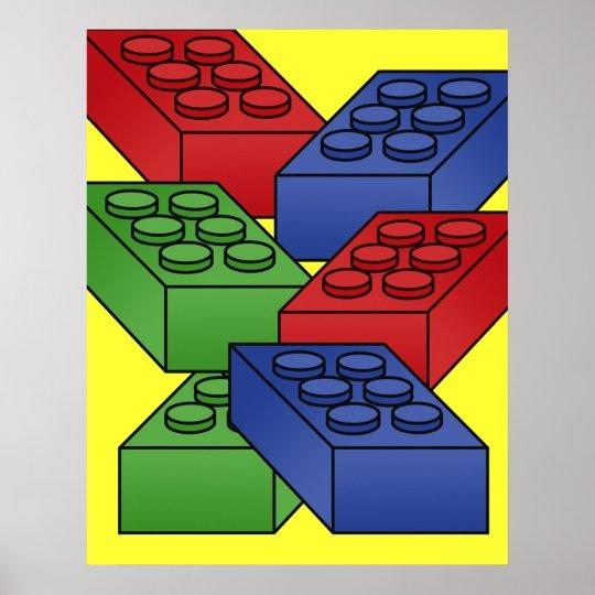 Building blocks - art deco poster