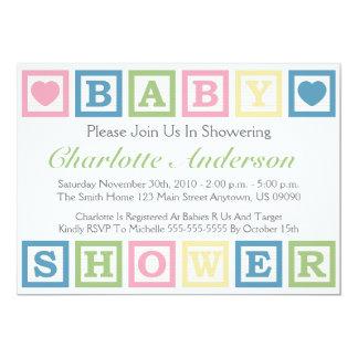 Building Blocks Baby Shower Invitiations (Green) 5x7 Paper Invitation Card