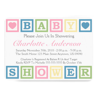 Building Blocks Baby Shower Invitiations (Pink) 13 Cm X 18 Cm Invitation Card
