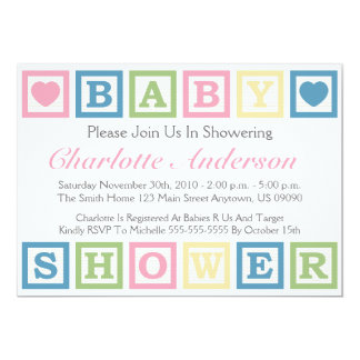 Building Blocks Baby Shower Invitiations (Pink) 5x7 Paper Invitation Card