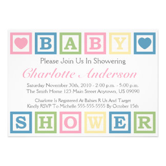 Building Blocks Baby Shower Invitiations (Pink) Announcement