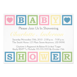 Building Blocks Baby Shower Invitiations (Yellow) Personalized Invite