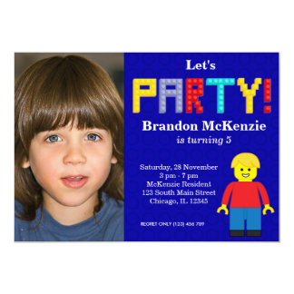 Building Blocks birthday 5x7 Paper Invitation Card