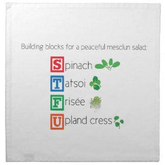 Building blocks for a peaceful mesclun salad cloth napkins
