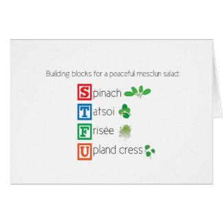 Building blocks for a peaceful mesclun salad greeting card