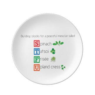 Building blocks for a peaceful mesclun salad porcelain plate
