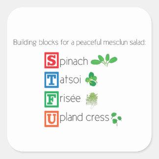 Building blocks for a peaceful mesclun salad square sticker