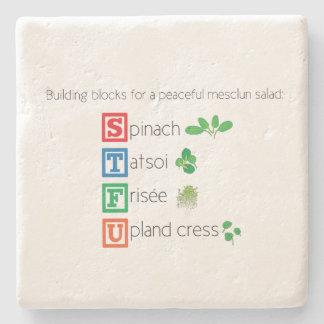 Building blocks for a peaceful mesclun salad stone beverage coaster