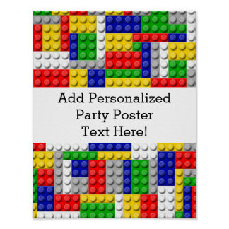 Building Blocks Primary Color Boy's Birthday/Party Poster
