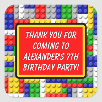 Building Blocks Thank You Boy's Birthday Party Square Sticker