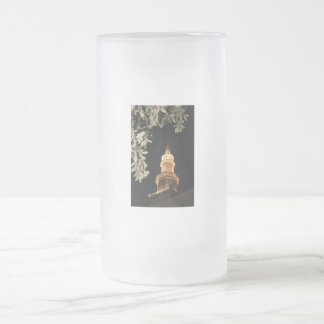 Building dome and leaf frame frosted glass mug