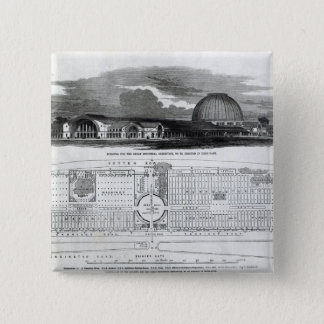 Building for the Great Industrial Exhibition 15 Cm Square Badge