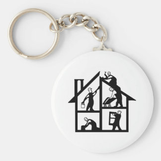 Building Logo Basic Round Button Key Ring