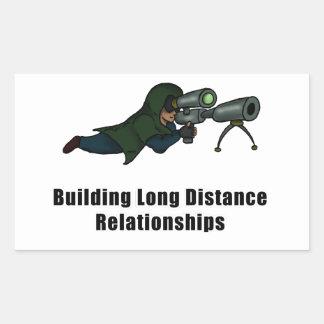 building long distance relationships rectangular sticker