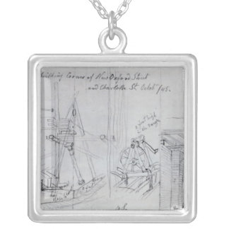 Building new houses silver plated necklace