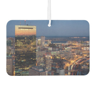 Building of Boston with light trails on road Car Air Freshener
