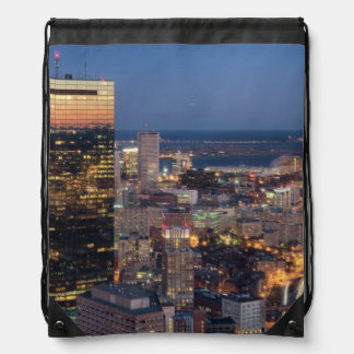 Building of Boston with light trails on road Drawstring Bag