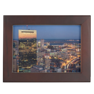 Building of Boston with light trails on road Keepsake Box