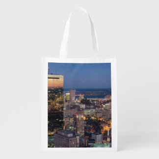 Building of Boston with light trails on road Reusable Grocery Bag