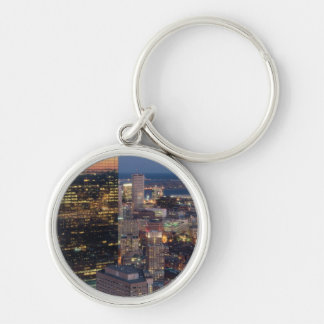 Building of Boston with light trails on road Silver-Colored Round Key Ring