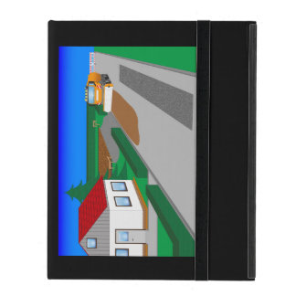 Building site with sweeping machine iPad case