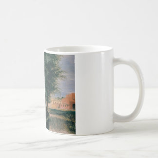 Building Site with Willows - Adolph Menzel 1846 Basic White Mug