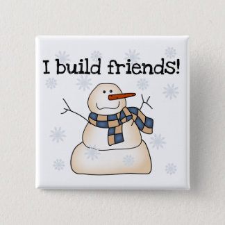 Building Snow Friends Tshirts and Gifts 15 Cm Square Badge