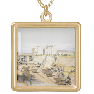 Building the Retaining Wall near Park Street, Camd Gold Plated Necklace