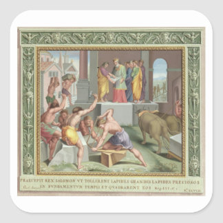 Building The Temple of Solomon, illustration from Square Sticker